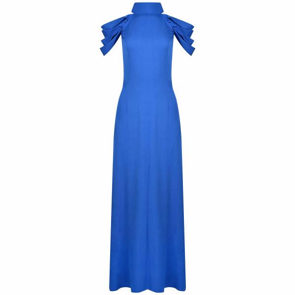 Abendkleid, Maxikleid Blau Ballkleid mit Schleife Viskose