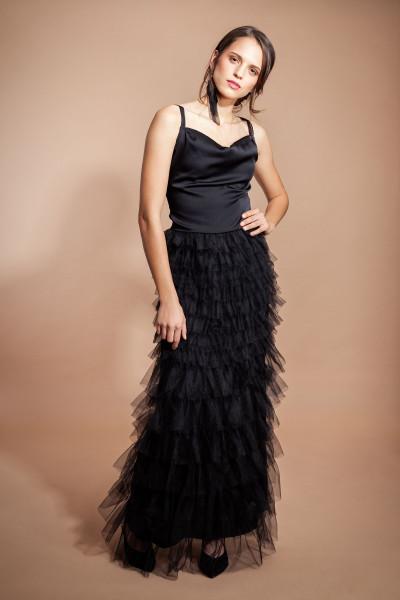 Abendkleid schwarz Tüll bodenlang ärmellos mit gefütterten Wasserfallausschnitt