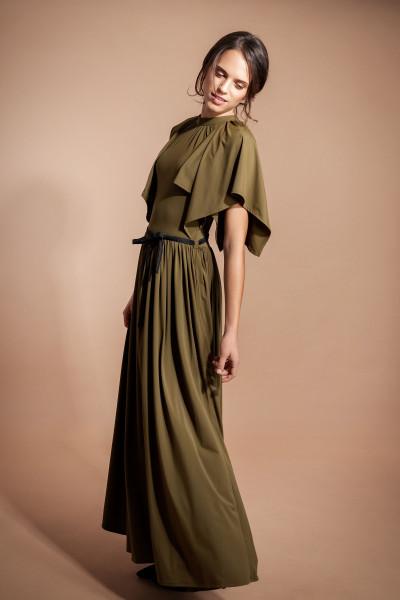 Abendkleid, Maxikleid olivgrün lang mit ausgestelltem Ärmel knitterfrei mit Taschen