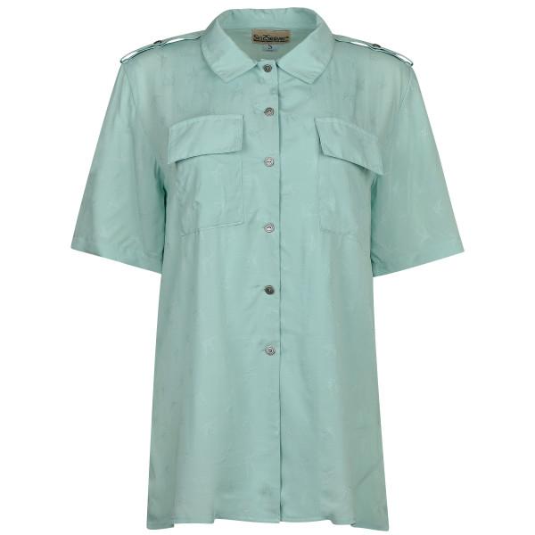 Hemdbluse lang mit Schulterklappen türkis mit leichtem Muster