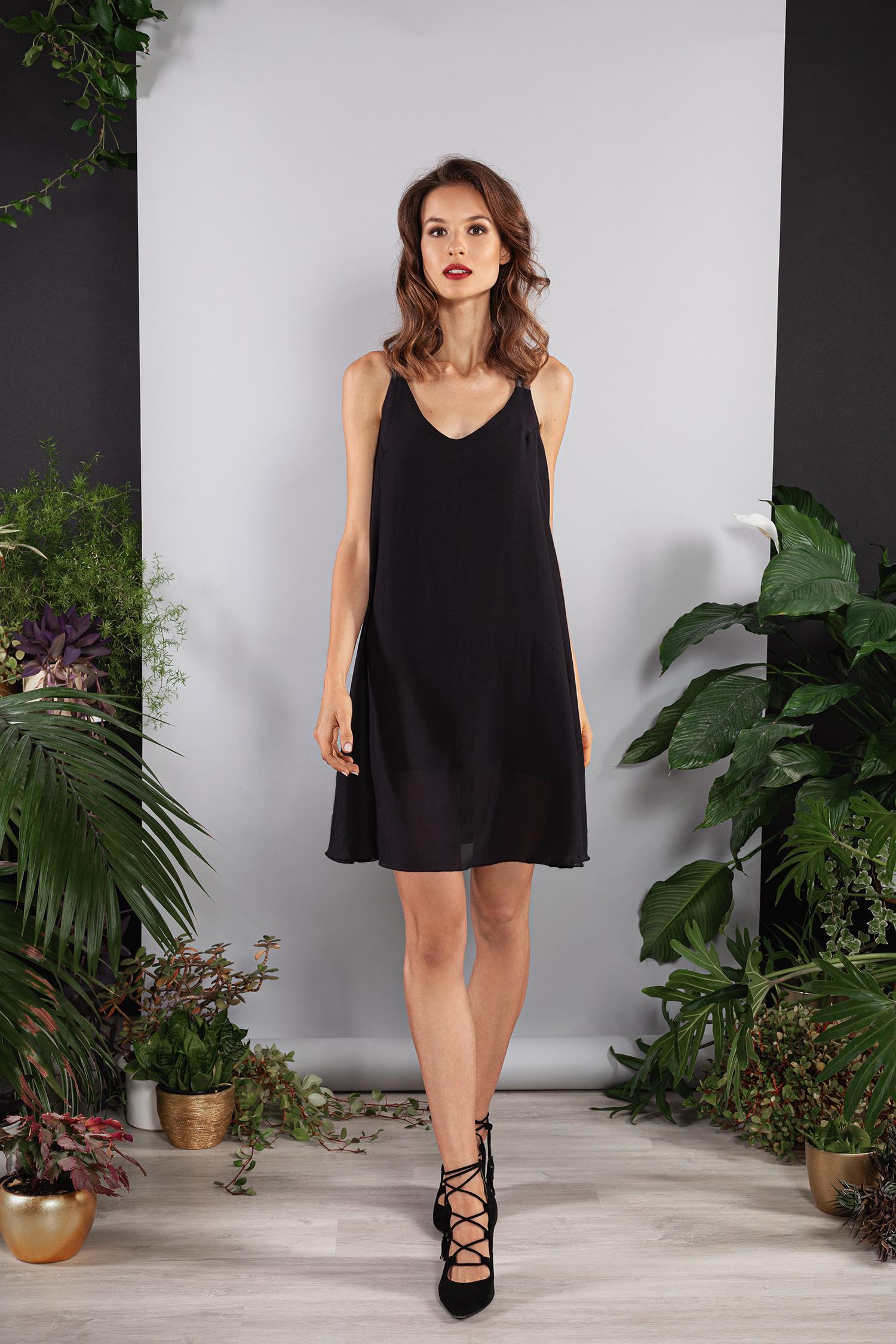 schwarzes kleid tencel lyocell mit gummi-trägern