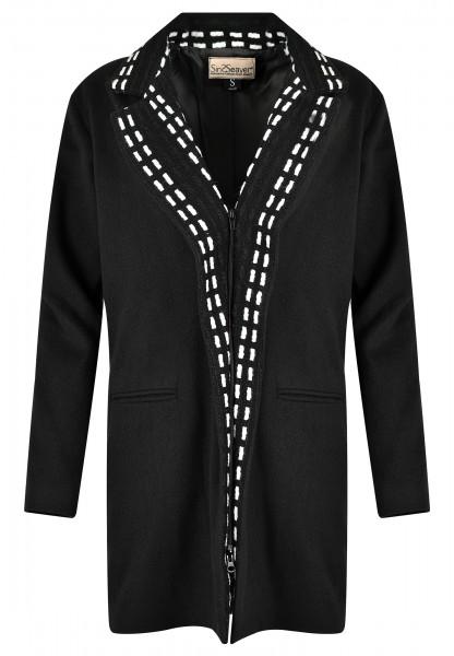 Leichter Mantel Damen Wintermantel schwarz knielang