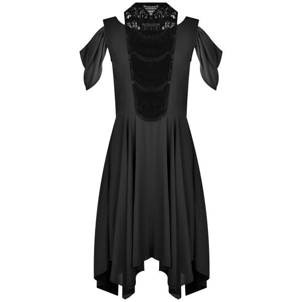 Abendkleid schwarz Viskose mit Spitzenkragen