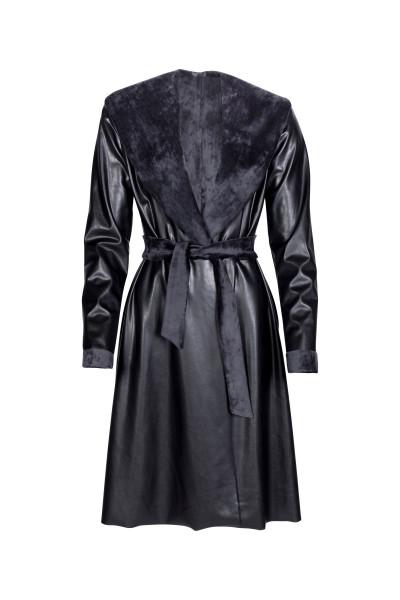 Kunstleder Mantel schwarz knielang warm kuscheliger Gürtel Schalkragen Taschen