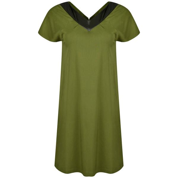 Kurzes Kleid gerade grün Viskose kurzarm