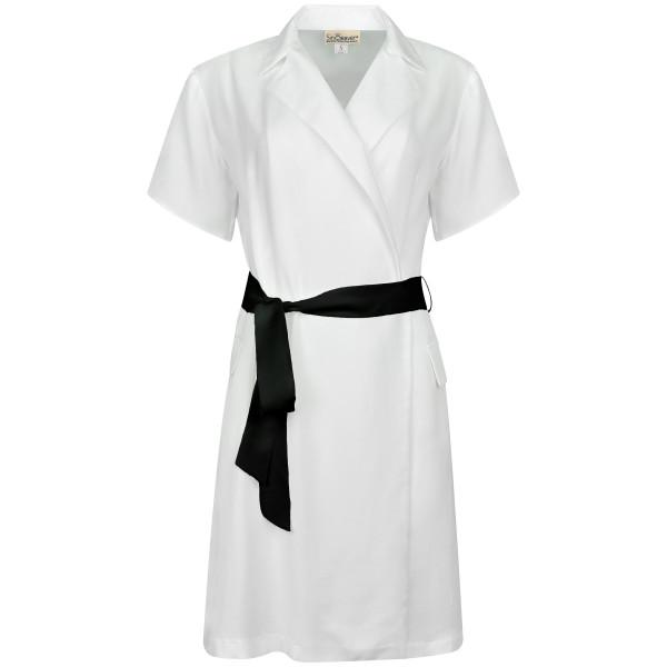 Blazerkleid ausgestellt kurzarm weiß Tencel