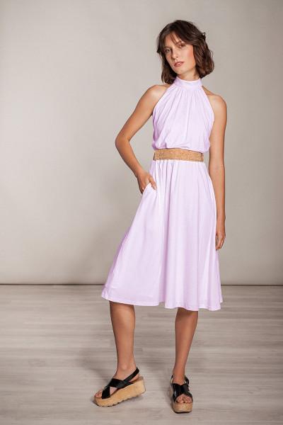 Knielanges Kleid Viskose Stehkragen - Rosa