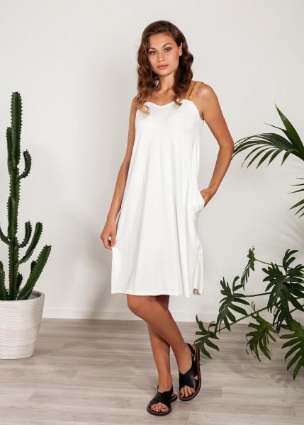 Weites Kleid mit Kork-Trägern und Taschen weiß