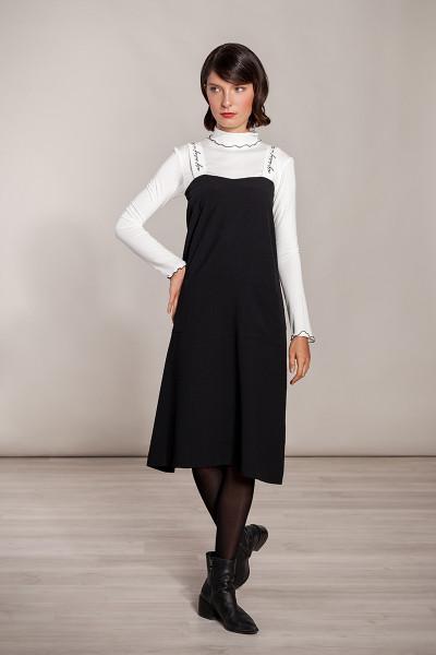 Kleid mit Trägern bestickt weit