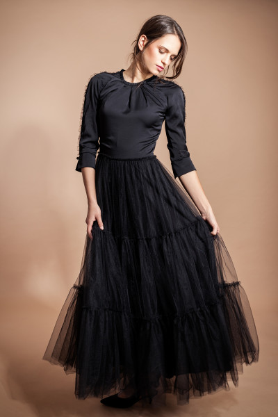 Abendkleid Tüll Maxikleid schwarz