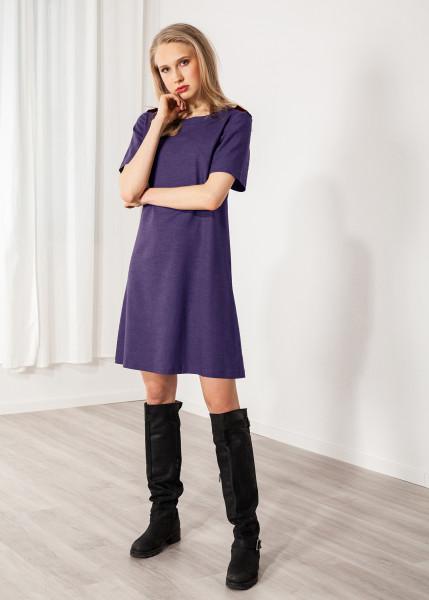 Kleid mit Schulterklappen kurzarm Leinen dunkelblau
