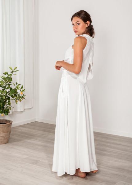 Abendkleid lang, Maxikleid mit Taschen weiß