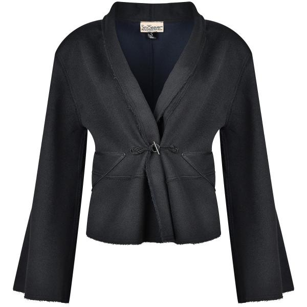 Mantel kurz Kimono-Ärmel doubleface schwarz-blau Schurwolle