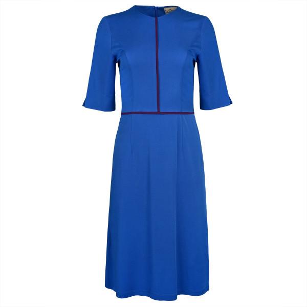 Knielanges Kleid blau mit Paspeln lila