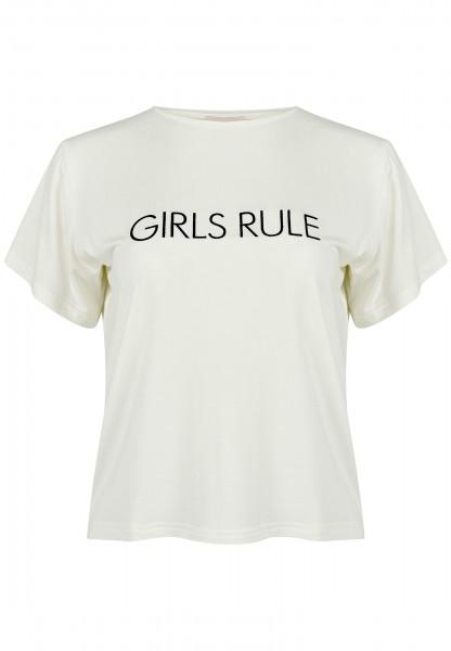 """Statement T-Shirt """"Girls rule"""" wollweiß kurzarm mit Spruch bestickt Bambus-Viskose"""