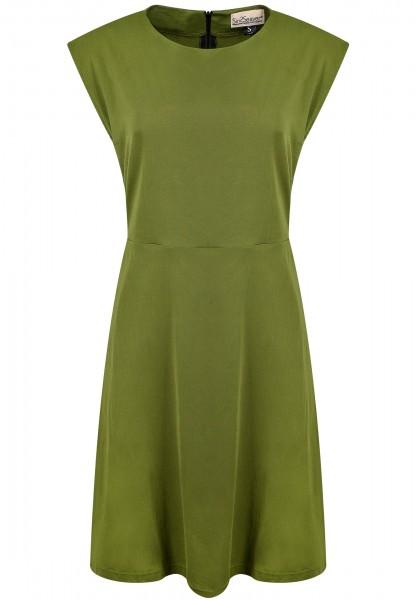 Kurzes Kleid ausgestellt Gummidetails