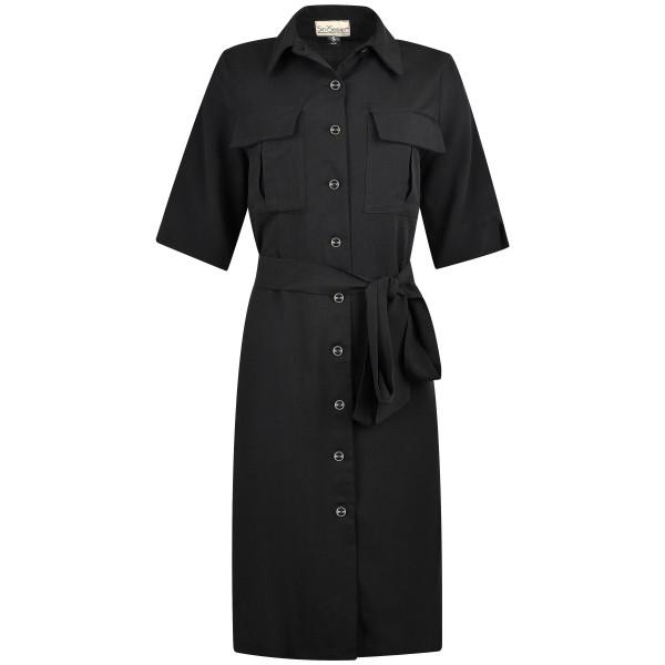 Blazerkleid knielang mit Knöpfen und Taschen schwarz Tencel