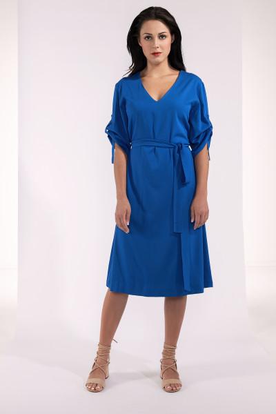 Knielanges Kleid mit gerafften Ärmeln und Gürtel in Blau Viskose