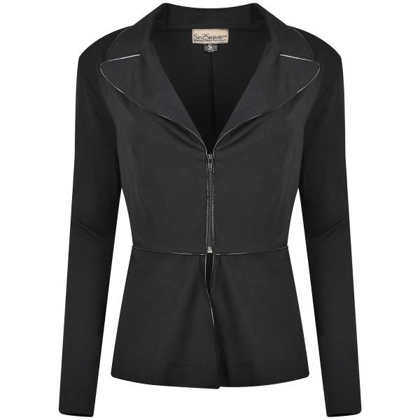 Schwarzer Blazer mit glänzenden Details tailliert Viskose