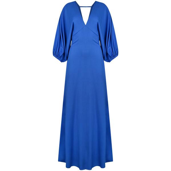 Abendkleid, Galakleid blau mit weiten Ärmeln rückenfrei Viskose