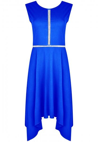 Abendkleid blau knielang mit Netz Viskose