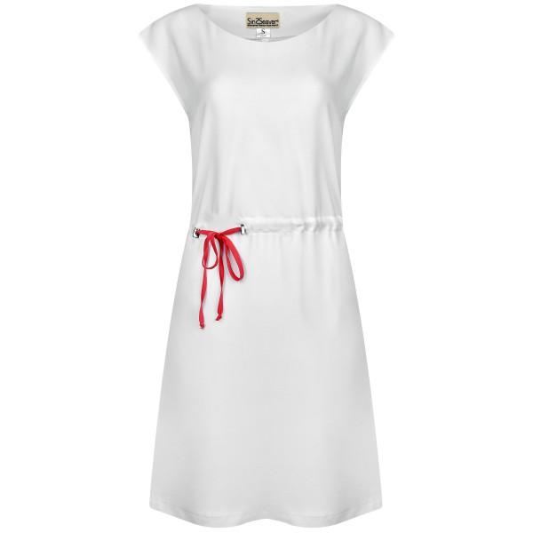 Kurzes Kleid mit Bändern in weiß