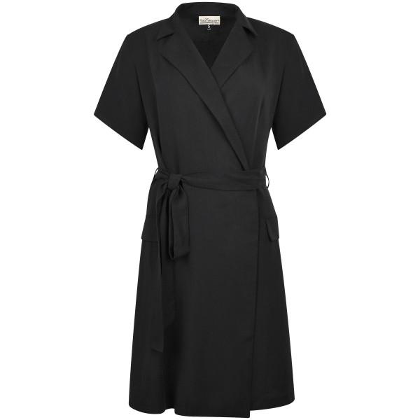 Blazerkleid ausgestellt kurzarm schwarz Tencel