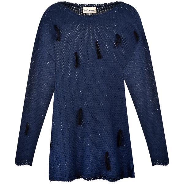 Strickpullover mit Woll-Zöpfen handgefertigt navy-blau KbA Baumwolle