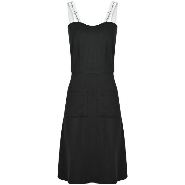 Kleid mit Trägern bestickt tailliert