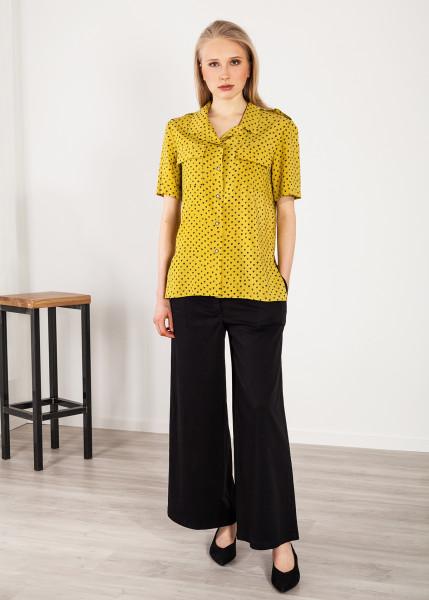 Hemdbluse mit Herzenprint und Schulterklappen gelb