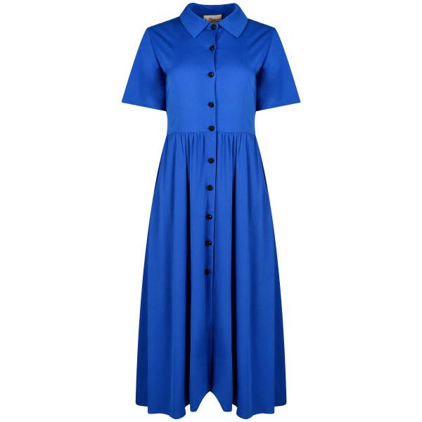 Langes Kleid blau Viskose mit Knöpfen
