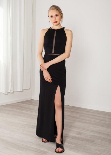 Abendkleid lang schwarz mit Netz