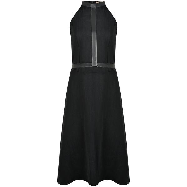 Knielanges Kleid schwarz Tencel mit Gummi-Gürtel