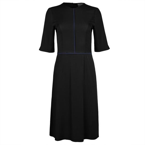 Knielanges Kleid schwarz mit Paspeln blau