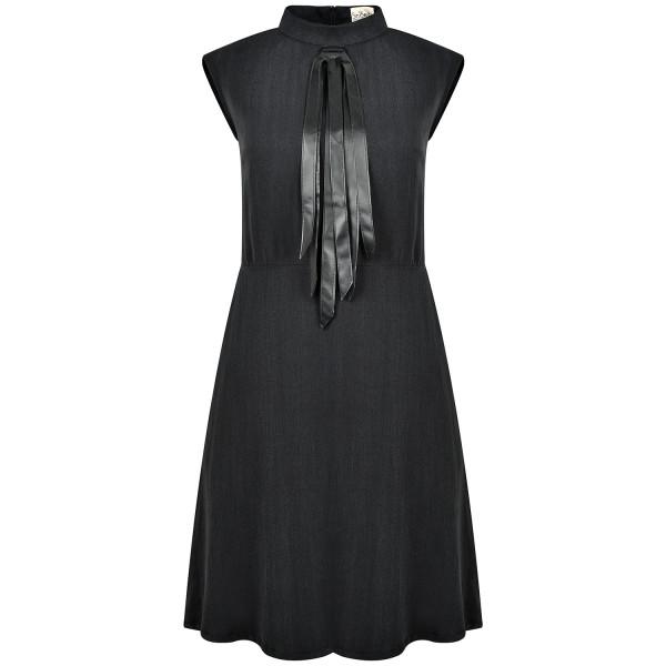 Cocktailkleid knielang schwarz Tencel mit Stehkragen