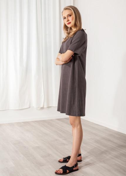 Kleid mit Schulterklappen kurzarm Leinen grau